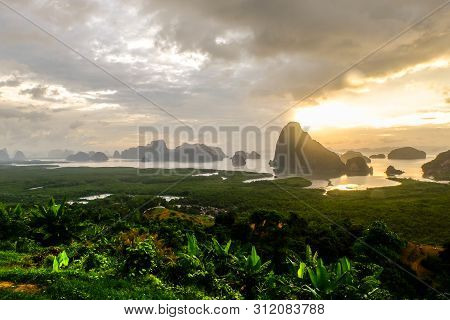 Samet Nang She Is The Best View Point On Phang Nga Bay In Phangnga, Southern Thailand .the View From