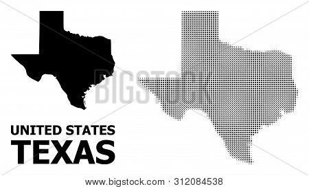 Halftone And Solid Map Of Texas State Composition Illustration. Vector Map Of Texas State Compositio
