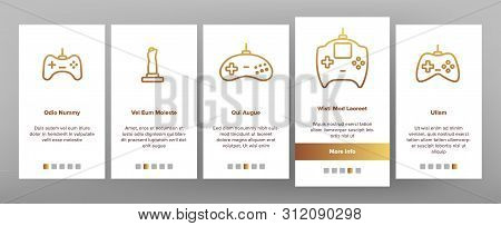 Gaming Joystick Vector Onboarding Mobile App Page Screen. Gaming Joystick, Computer Games Accessorie