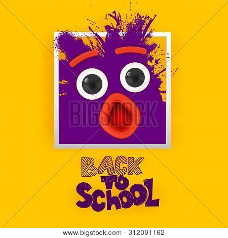Back To School Ink Splash Monster Face With Eyes And Open Mouth Looking On Yellow Background. Hand L