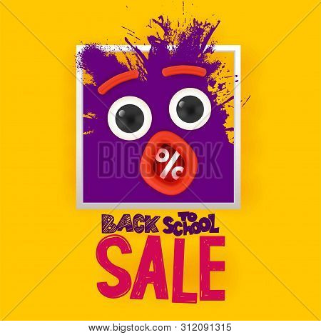 Back To School Sale Ink Splash Monster Face With Eyes And Open Mouth Looking On Yellow Background. H