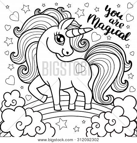 Magic Animal Horse For Children. Unicorn Fabulous. Cute Cartoon Black And White Vector Illustration