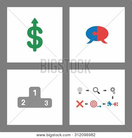 Vector Icon Concept Set. Dollar Up, Puzzle Speech Bubble, Winners Podium And Unsuccess.