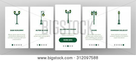 Street Lights Linear Vector Onboarding Mobile App Page Screen. Streetlights Thin Line Contour Symbol