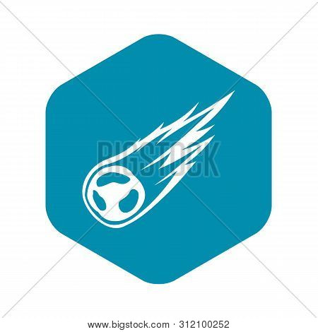 Falling Meteor With Long Tail Icon. Simple Illustration Of Falling Meteor With Long Tail Vector Icon