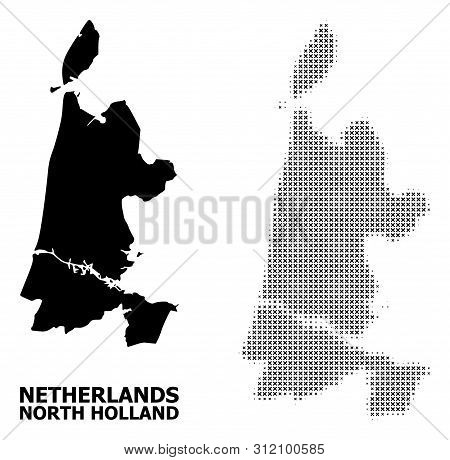 Halftone And Solid Map Of North Holland Composition Illustration. Vector Map Of North Holland Compos