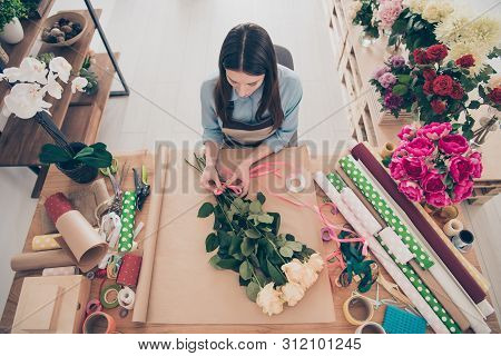 Top High Above Angle View Photo Of Concentrated Lady Self-employed Person Hold Hand Touch Environmen