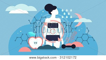 Metabolism Vector Illustration. Flat Tiny Food To Energy Conversion Persons Concept. Tiny Nutrition
