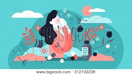 Allergy Vector Illustration. Flat Tiny Dust Asthmatic Intolerance Person Concept. Illness With Cough