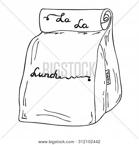 Lunch Box, Lunch Bag Illustration. La La Lunch Vector Hand Drawn Sketch Cartoon