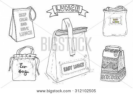 Lunch Bag And Lunch Box Set. Hand Drawn Artistic Illustration. Vector Clip Art Collection