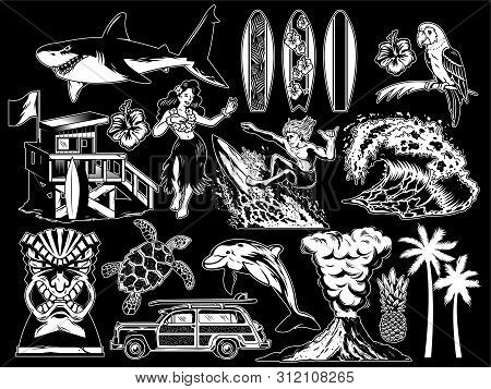 Summer Paradise Surfing Vintage Retro Set Icons Monochrome Collection With Sea Ocean Animals Wave Pa