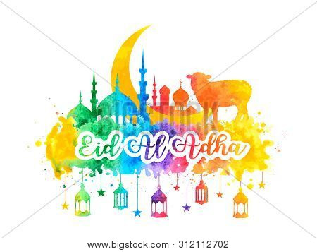 Muslim Holiday Eid Al-adha. Greeting Card With A Sacrificial Sheep, Mosque And Crescent With Waterco