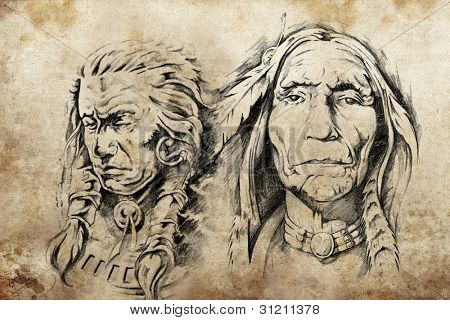 Tattoo sketch of American Indian elders, drawing