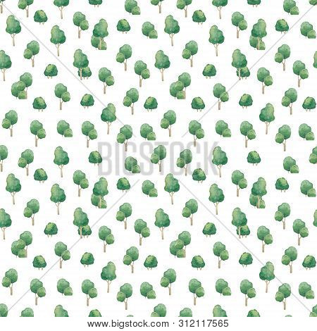 Seamless Watercolor Forest Pattern. Green Cute Trees On White Background. Abstract Watercolor Illust