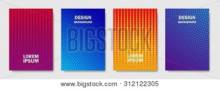 Colorful Halftone Shapes Cover Of Page Layouts Design. Minimal Modern Design Cover With Halftone Gra