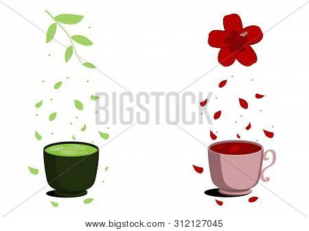 Two Useful Tea Karkade And Matcha. Green Tea In A Dark Cup And Red Tea In A Pink Cup. Eco-friendly A