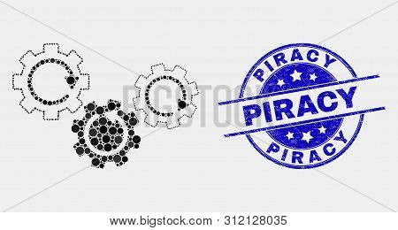 Pixelated Gear Mechanism Mosaic Pictogram And Piracy Seal Stamp. Blue Vector Rounded Grunge Seal Sta