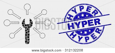 Pixelated Wrench Links Mosaic Pictogram And Hyper Seal Stamp. Blue Vector Round Textured Seal Stamp