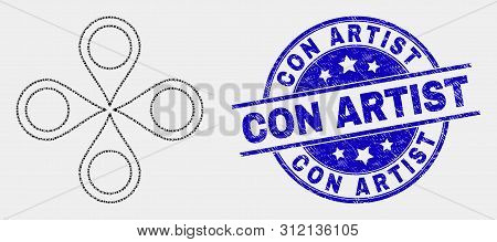 Dotted Map Markers Mosaic Icon And Con Artist Stamp. Blue Vector Round Scratched Seal With Con Artis