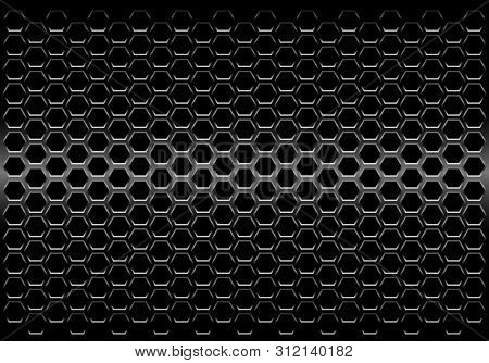 Abstract Black Metallic Hexagon Mesh Pattern Design Modern Futuristic Background Vector Illustration