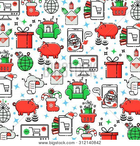 Vector Christmas Background Online Shopping In Linear Style.