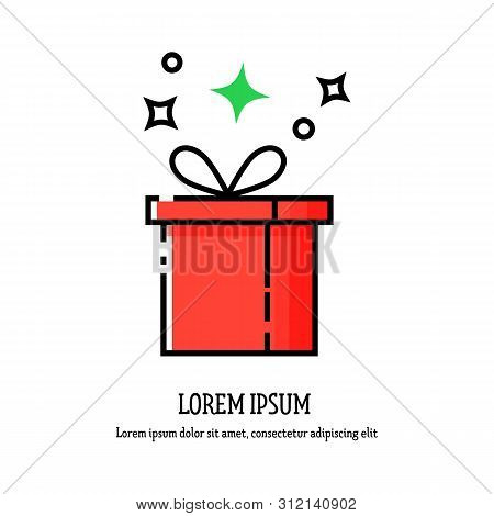 Vector Gift Box In A Linear Fashion