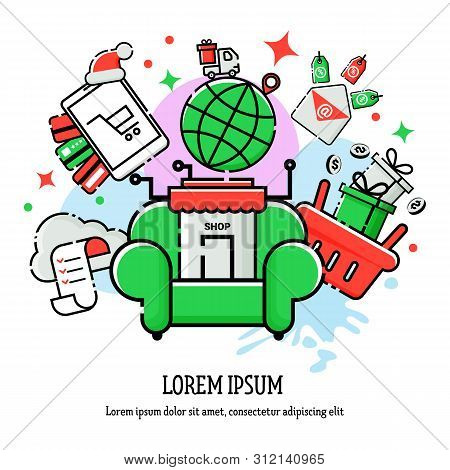 Vector Linear Illustration Of Christmas Online Shopping
