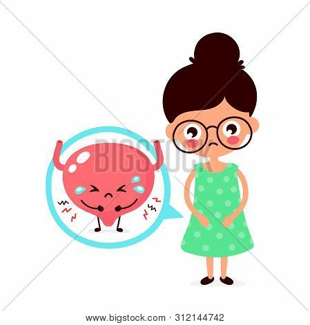 Sad Sick Young Women With Pain In Bladder Character. Vector Flat Cartoon Illustration Icon Design. I