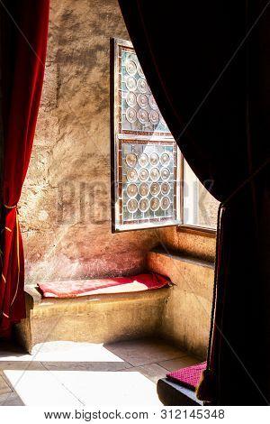 Hunedoara, Romania - August 31, 2017: Diet Hall Window Niche At The Corvin Castle, Also Known As Hun