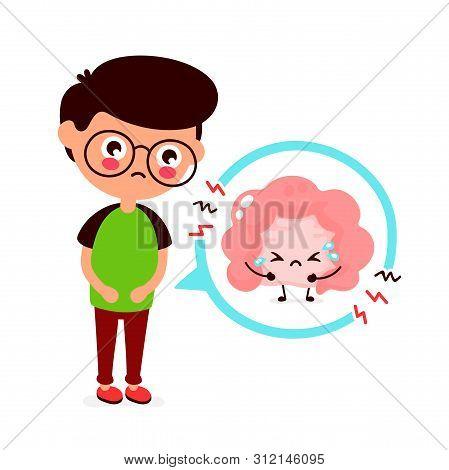 Sad Sick Young Man With Intestine Problem. Vector Flat Cartoon Illustration Icon Design. Isolated On