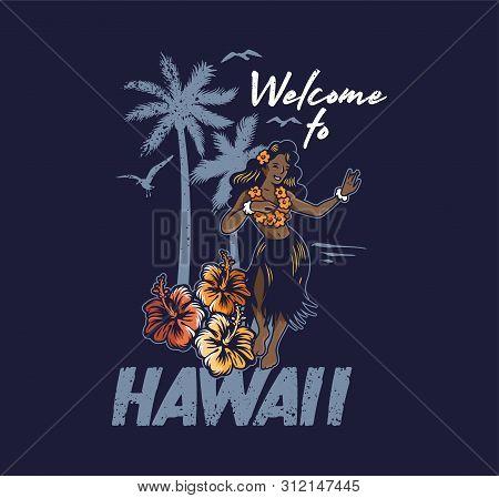 Young Cute Smile Hawaiian Hula Girl Dancing On The Beach Luau Aloha Party. In Lei And Grass Skirt Vi