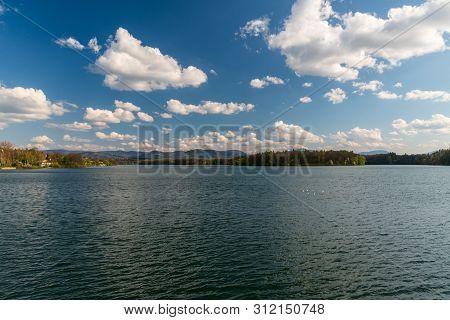 Zermanice Water Reservoir With Hills Of Moravskoslezske Beskydy Mountains On The Background Near Hav