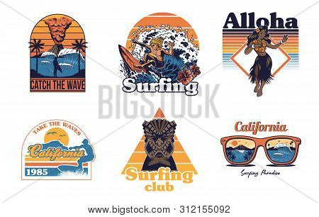 Set Vintage Print Collection Summer Hawaii California Paradise Surfing Retro Icons Logo With Sea Oce