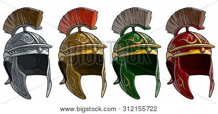 Cartoon Colorful Metal Ancient Roman Soldier Warrior Helmet With Crest. Isolated On White Background