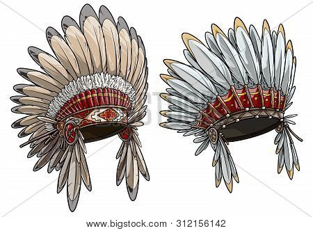 Cartoon Detailed Colorful Native American Indian Chief Headdress With Feathers. Isolated On White Ba