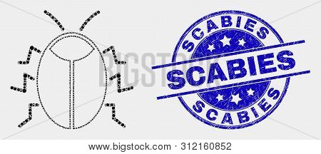 Dot Bug Mosaic Pictogram And Scabies Stamp. Blue Vector Round Grunge Seal Stamp With Scabies Caption