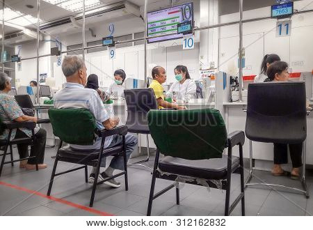 Bangkok, Thailand - July 13: Unnamed Elderly Patients Que For Taking Blood Samples In Sirirat Public