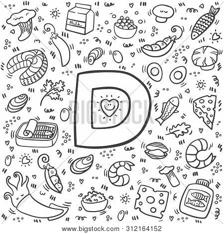 Vitamin D Doodles. Hand Drawn Illustration Of Different Food Rich Of Vitamin D. Set Of Food With Vit