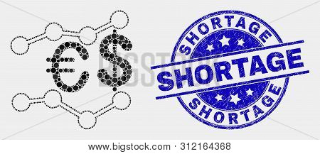 Dot Financial Trends Mosaic Pictogram And Shortage Seal Stamp. Blue Vector Rounded Grunge Seal With