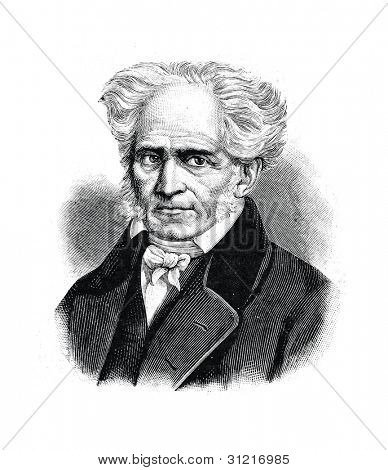 Arthur Schopenhauer - German philosopher. Engraving by  Shyubler. Published in magazine