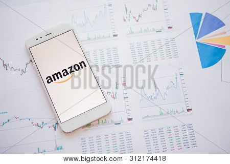 Saint Petersburg, Russia - June 25, 2019: Amazon.com Company Logo On The Smartphone Screen.