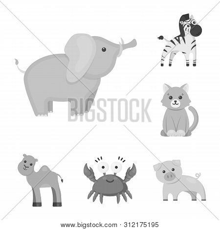 An Unrealistic Monochrome Animal Icons In Set Collection For Design. Toy Animals Bitmap Symbol Stock