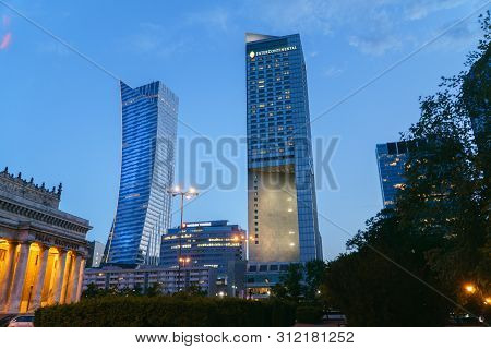 Warsaw, Poland - May 10 2018: Warsaw Cityscape. Panoramic View On The Illuminated City Buildings At