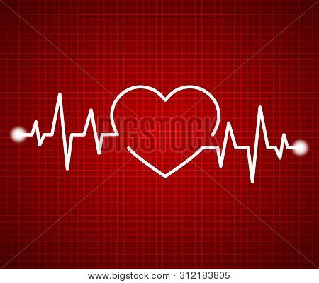 Abstract Heart Beats, Cardiogram. Cardiology Dark Red Background. Pulse Of Life Line Forming Heart S