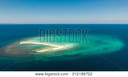 Seascape, White Sand Island..atoll Near The Island Of Camiguin, Philippines, Aerial View.white Sandy
