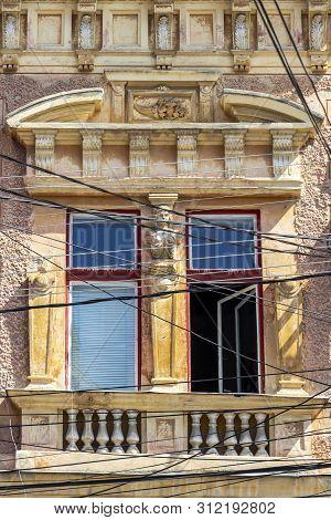 Window Of A Beautiful Old Building At Piata Cuza Voda Or Cuza Voda Square In Aiud, Alba County, Tran