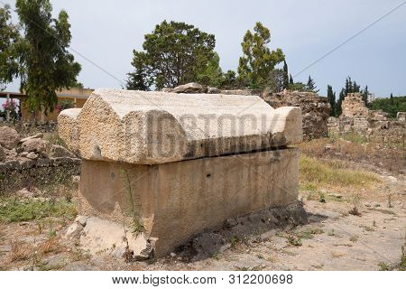 A Sarcophagus. Al-bass Tyre Necropolis. Roman Remains In Tyre. Tyre Is An Ancient Phoenician City. T