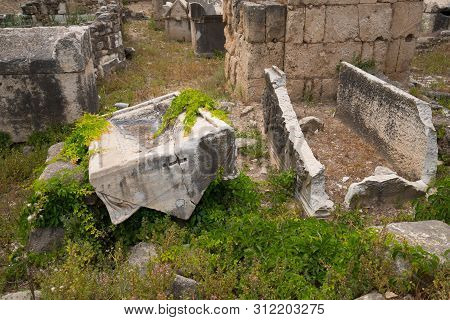 Remains Of Sarcophagi. Al-bass Tyre Necropolis. Roman Remains In Tyre. Tyre Is An Ancient Phoenician