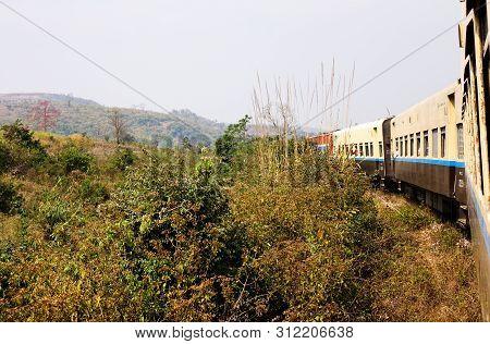 Train Passing The Famous Viaduct Goteik